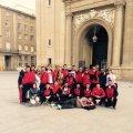 Foto histórica del primer equipo en la Plaza del Pilar de Zaragoza durante las fases de ascenso a primera estatal.